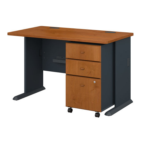 Bush Series A 48W Desk with 3Dwr Mobile Pedestal (Assembled), Natural Cherry SRA025NCSU ; UPC: 042976516857 ; Image 1