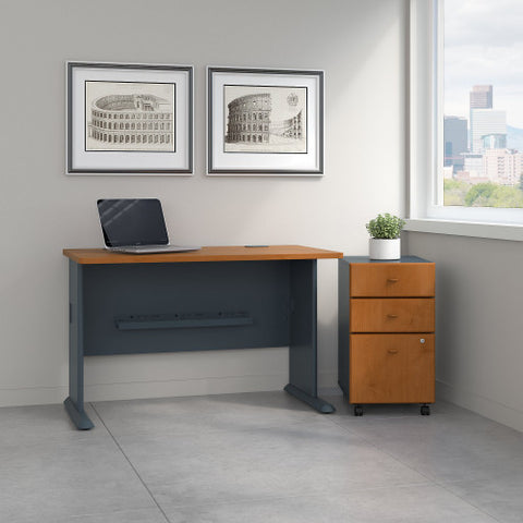 Bush Series A 48W Desk with 3Dwr Mobile Pedestal (Assembled), Natural Cherry SRA025NCSU ; UPC: 042976516857 ; Image 2