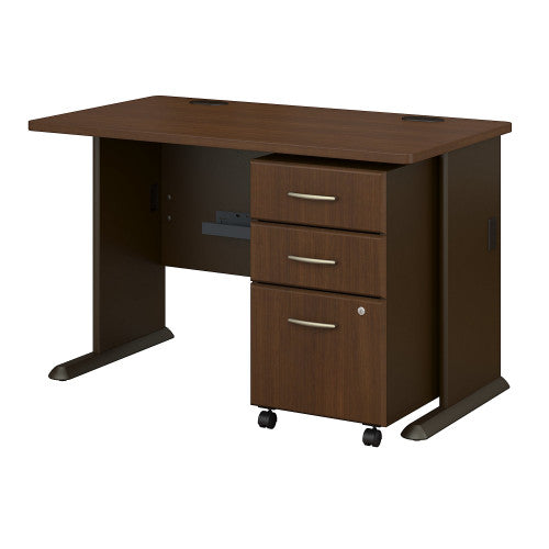 Bush Series A 48W Desk with 3Dwr Mobile Pedestal (Assembled), Walnut SRA025WASU ; UPC: 042976521561 ; Image 1