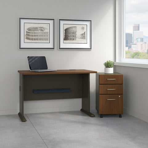 Bush Series A 48W Desk with 3Dwr Mobile Pedestal (Assembled), Walnut SRA025WASU ; UPC: 042976521561 ; Image 2