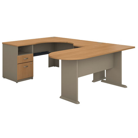 Bush Series A Single 2 Dwr Pedestal Corner Desk U-Station, Light Oak SRA037LO ; UPC: 042976037765 ; Image 1