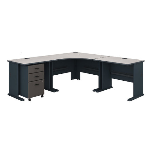 Bush Series A 84W X 84D Corner Desk with 3 Drawer Mobile Ped, Slate SRA041SLSU ; UPC: 042976023683 ; Image 1