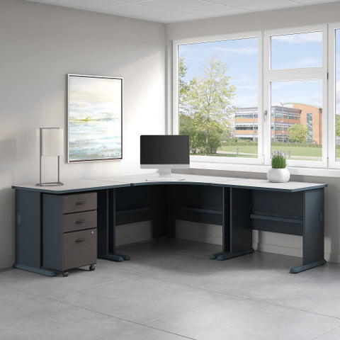 Bush Series A 84W X 84D Corner Desk with 3 Drawer Mobile Ped, Slate SRA041SLSU ; UPC: 042976023683 ; Image 2