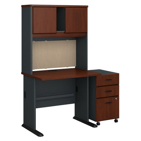 Bush Series A 36W Desk, Hutch and 3 Drawer Mobile Pedestal, Hansen Cherry SRA048HCSU ; UPC: 042976055073 ; Image 1