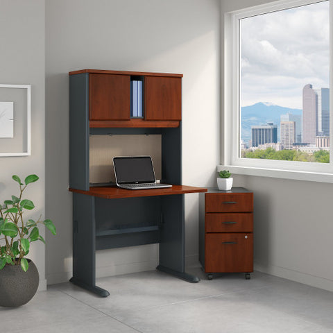Bush Series A 36W Desk, Hutch and 3 Drawer Mobile Pedestal, Hansen Cherry SRA048HCSU ; UPC: 042976055073 ; Image 2