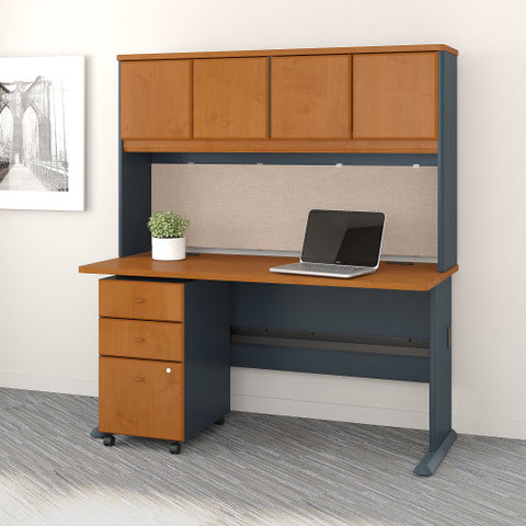 Bush Series A 60W Desk, Hutch and 3 Drawer Mobile Pedestal, Natural Cherry SRA050NCSU ; UPC: 042976055394 ; Image 2