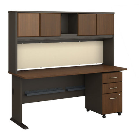 Bush Series A 72W Desk, Hutch and 3 Drawer Mobile Pedestal, Walnut SRA051WASU ; UPC: 042976055592 ; Image 1