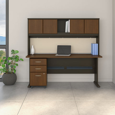 Bush Series A 72W Desk, Hutch and 3 Drawer Mobile Pedestal, Walnut SRA051WASU ; UPC: 042976055592 ; Image 2