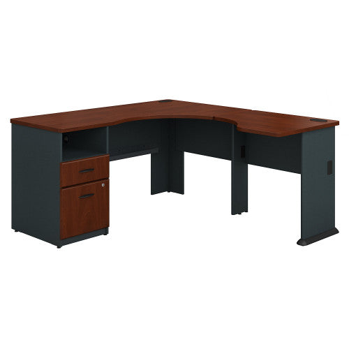 Bush Series A Single Pedestal Desk and 30W Bridge, Hansen Cherry SRA055HC ; UPC: 042976056056 ; Image 1
