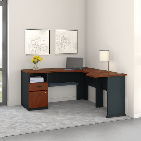 Bush Series A Single Pedestal Desk and 30W Bridge, Hansen Cherry SRA055HC ; UPC: 042976056056 ; Image 2