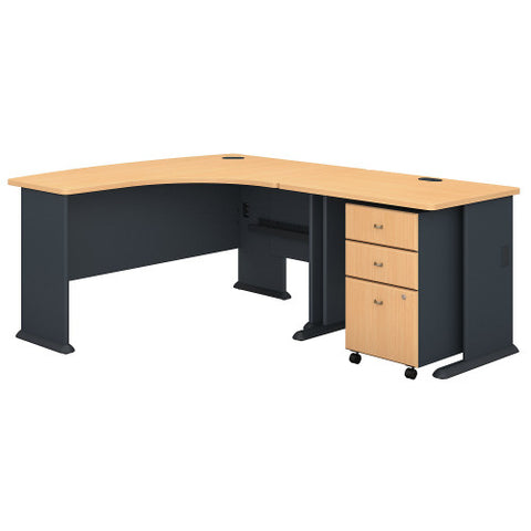 Bush Series A 60W Right Hand Bow Front Desk, 36W Desk & Mobile Ped, Beech SRA056BESU ; UPC: 042976056179 ; Image 1