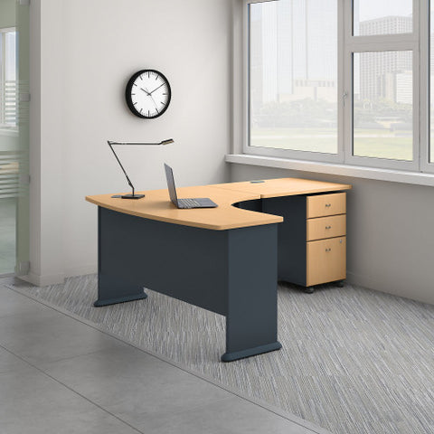Bush Series A 60W Right Hand Bow Front Desk, 36W Desk & Mobile Ped, Beech SRA056BESU ; UPC: 042976056179 ; Image 2