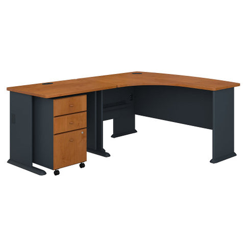 Bush Series A 60W Left Hand Bow Front Desk, 36W Desk & Mobile Ped, Natural Cherry SRA057NCSU ; UPC: 042976056377 ; Image 1