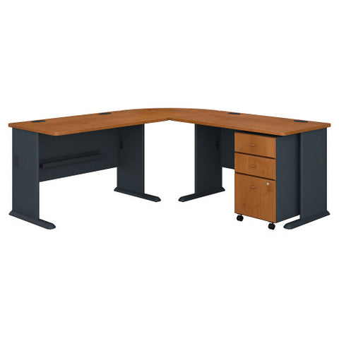Bush Series A 75W x 75D L Desk and 3 Drawer Mobile Pedestal, Natural Cherry SRA058NCSU ; UPC: 042976056513 ; Image 1