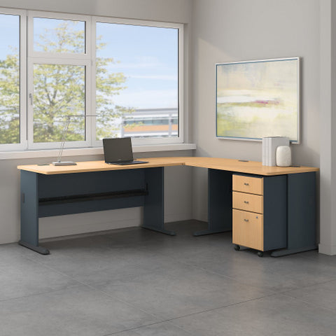 Bush Series A 87W x 75D L Desk and 3 Drawer Mobile Pedestal, Beech SRA059BESU ; UPC: 042976056605 ; Image 2