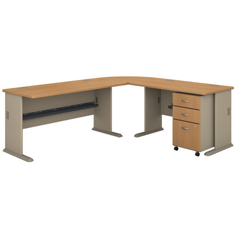 Bush Series A 87W x 75D L Desk and 3 Drawer Mobile Pedestal, Light Oak SRA059LOSU ; UPC: 042976056643 ; Image 1