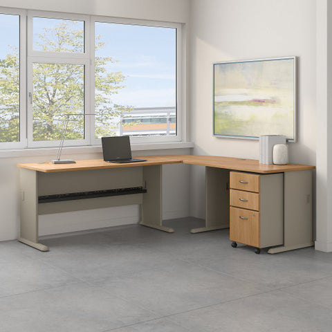 Bush Series A 87W x 75D L Desk and 3 Drawer Mobile Pedestal, Light Oak SRA059LOSU ; UPC: 042976056643 ; Image 2