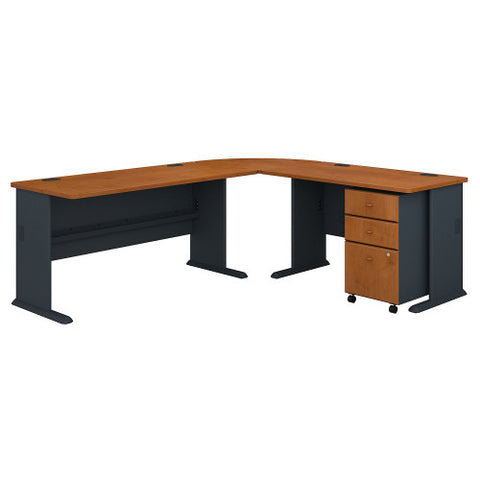Bush Series A 99W x 75D L Desk and 3 Drawer Mobile Pedestal, Natural Cherry SRA060NCSU ; UPC: 042976056803 ; Image 1