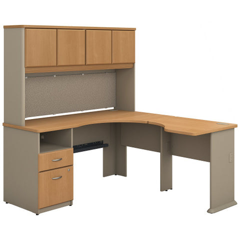Bush Series A 60W x 65D Single Pedestal L Desk and Hutch, Light Oak SRA062LO ; UPC: 042976057077 ; Image 1