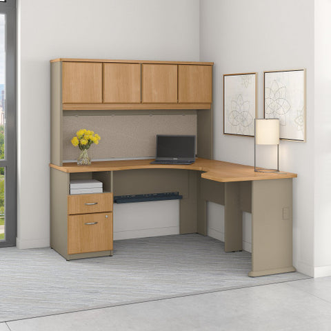 Bush Series A 60W x 65D Single Pedestal L Desk and Hutch, Light Oak SRA062LO ; UPC: 042976057077 ; Image 2
