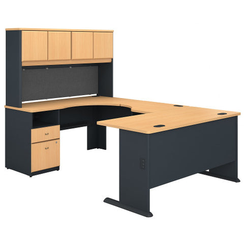 Bush Series A 60W Single Pedestal U Station Desk and Hutch, Beech SRA066BE ; UPC: 042976057633 ; Image 1