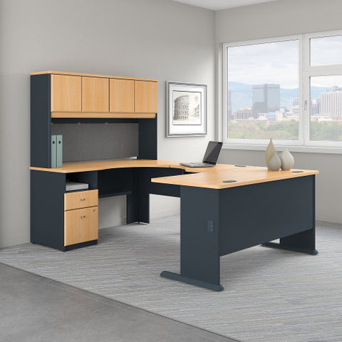 Bush Series A 60W Single Pedestal U Station Desk and Hutch, Beech SRA066BE ; UPC: 042976057633 ; Image 2