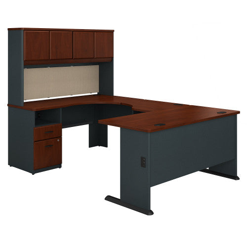 Bush Series A 60W Single Pedestal U Station Desk and Hutch, Hansen Cherry SRA066HC ; UPC: 042976057657 ; Image 1