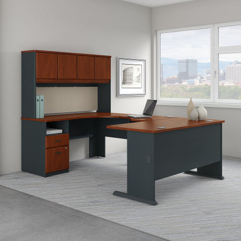 Bush Series A 60W Single Pedestal U Station Desk and Hutch, Hansen Cherry SRA066HC ; UPC: 042976057657 ; Image 2