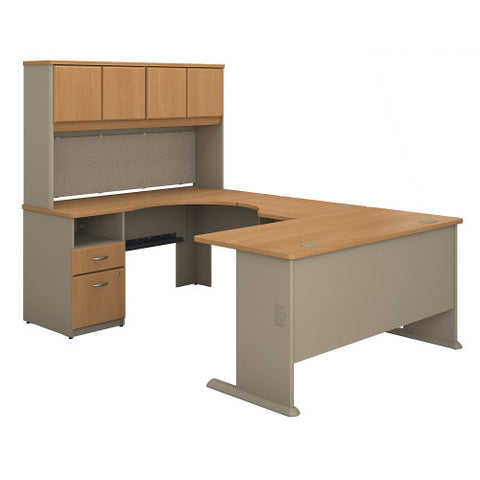 Bush Series A 60W Single Pedestal U Station Desk and Hutch, Light Oak SRA066LO ; UPC: 042976057671 ; Image 1