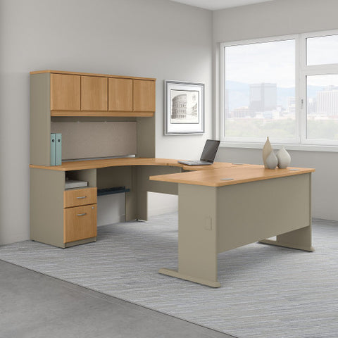Bush Series A 60W Single Pedestal U Station Desk and Hutch, Light Oak SRA066LO ; UPC: 042976057671 ; Image 2