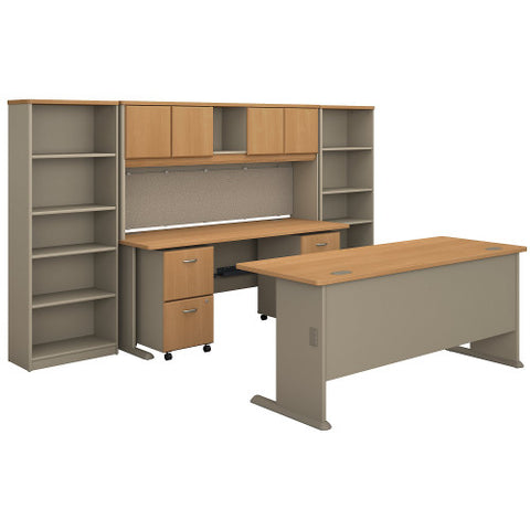 Bush Series A 72W Desk and Credenza with File Storage and Bookcases, Light Oak SRA071LOSU ; UPC: 042976058425 ; Image 1