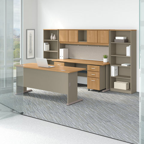 Bush Series A 72W Desk and Credenza with File Storage and Bookcases, Light Oak SRA071LOSU ; UPC: 042976058425 ; Image 2