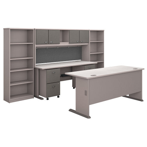 Bush Series A 72W Desk and Credenza with File Storage and Bookcases, Pewter SRA071PESU ; UPC: 042976058463 ; Image 1