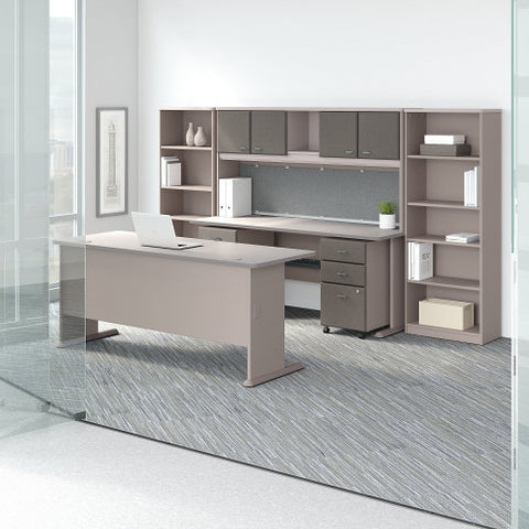Bush Series A 72W Desk and Credenza with File Storage and Bookcases, Pewter SRA071PESU ; UPC: 042976058463 ; Image 2