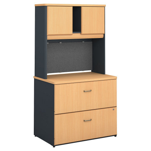 Bush Series A 36W 2 Drawer Lateral File and Hutch, Beech SRA073BESU ; UPC: 042976058692 ; Image 1