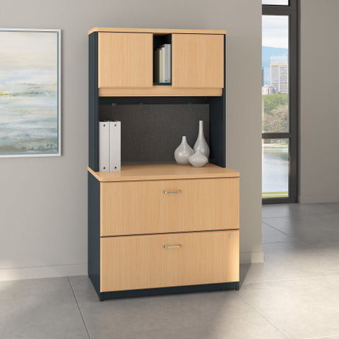 Bush Series A 36W 2 Drawer Lateral File and Hutch, Beech SRA073BESU ; UPC: 042976058692 ; Image 2