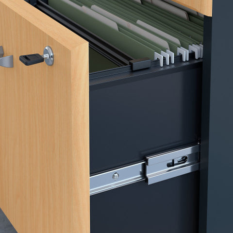 Bush Series A 36W 2 Drawer Lateral File and Hutch, Beech SRA073BESU ; UPC: 042976058692 ; Image 3