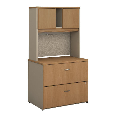 Bush Series A 36W 2 Drawer Lateral File and Hutch, Light Oak SRA073LOSU ; UPC: 042976058739 ; Image 1