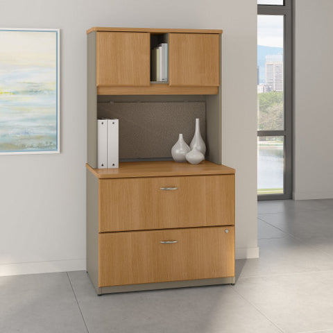 Bush Series A 36W 2 Drawer Lateral File and Hutch, Light Oak SRA073LOSU ; UPC: 042976058739 ; Image 2
