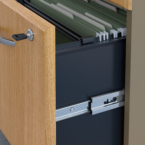 Bush Series A 36W 2 Drawer Lateral File and Hutch, Light Oak SRA073LOSU ; UPC: 042976058739 ; Image 3