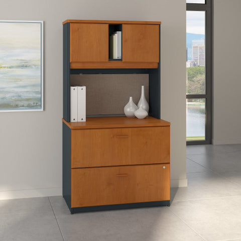 Bush Series A 36W 2 Drawer Lateral File and Hutch, Natural Cherry SRA073NCSU ; UPC: 042976058753 ; Image 2