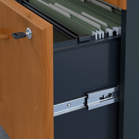 Bush Series A 36W 2 Drawer Lateral File and Hutch, Natural Cherry SRA073NCSU ; UPC: 042976058753 ; Image 3