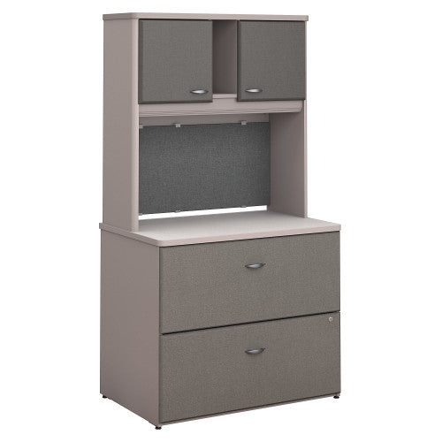 Bush Series A 36W 2 Drawer Lateral File and Hutch, Pewter SRA073PESU ; UPC: 042976058777 ; Image 1