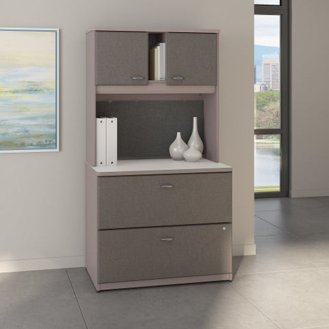 Bush Series A 36W 2 Drawer Lateral File and Hutch, Pewter SRA073PESU ; UPC: 042976058777 ; Image 2