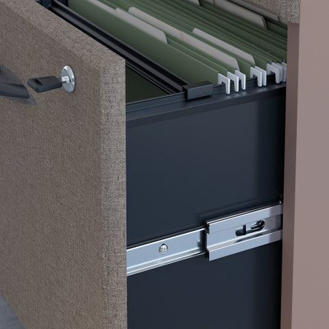 Bush Series A 36W 2 Drawer Lateral File and Hutch, Pewter SRA073PESU ; UPC: 042976058777 ; Image 3