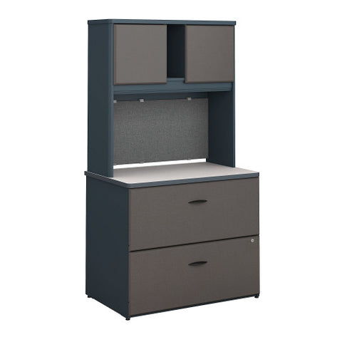 Bush Series A 36W 2 Drawer Lateral File and Hutch, Slate SRA073SLSU ; UPC: 042976058791 ; Image 1
