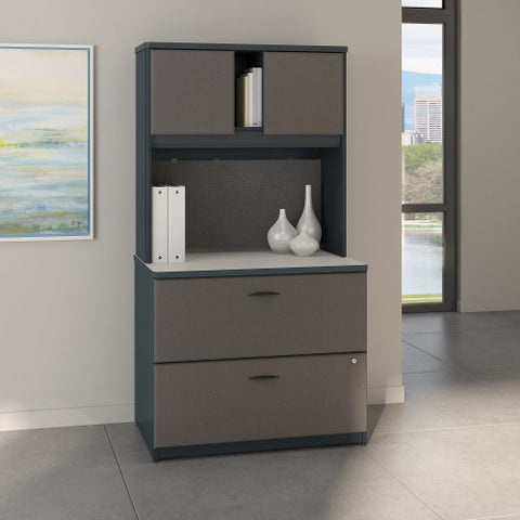 Bush Series A 36W 2 Drawer Lateral File and Hutch, Slate SRA073SLSU ; UPC: 042976058791 ; Image 2