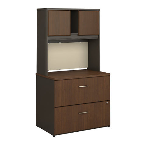 Bush Series A 36W 2 Drawer Lateral File and Hutch, Walnut SRA073WASU ; UPC: 042976058814 ; Image 1