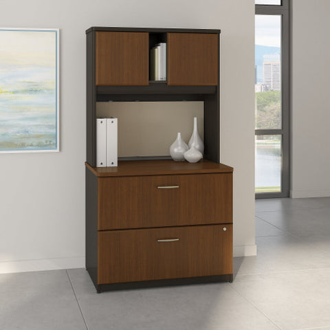 Bush Series A 36W 2 Drawer Lateral File and Hutch, Walnut SRA073WASU ; UPC: 042976058814 ; Image 2