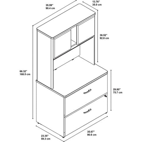 Bush Series A 36W 2 Drawer Lateral File and Hutch, Walnut SRA073WASU ; UPC: 042976058814 ; Image 4